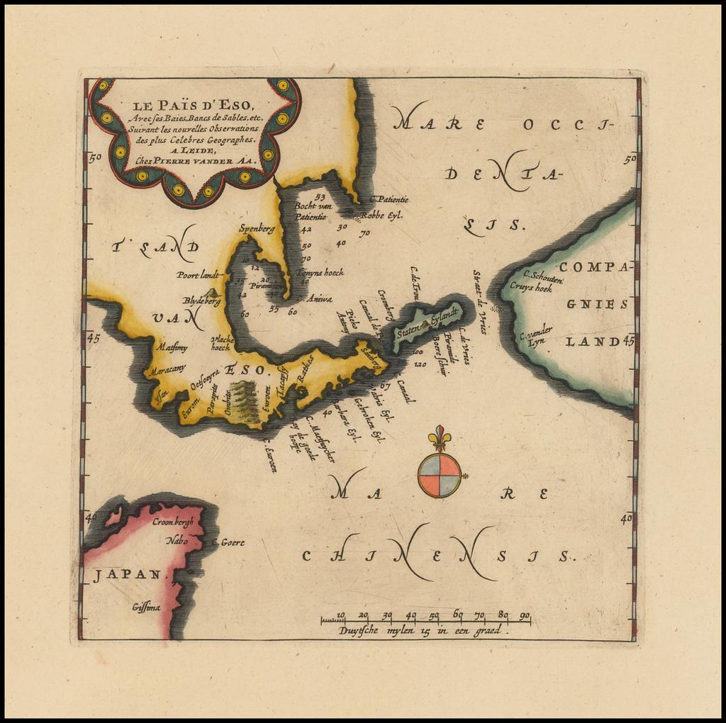 Le Pais d'Eso Avec ses Baies, Bancs de Sables, etc. Suivant les nouvelles Observations des plus Celebres Geographes. . .  By Pieter van der Aa