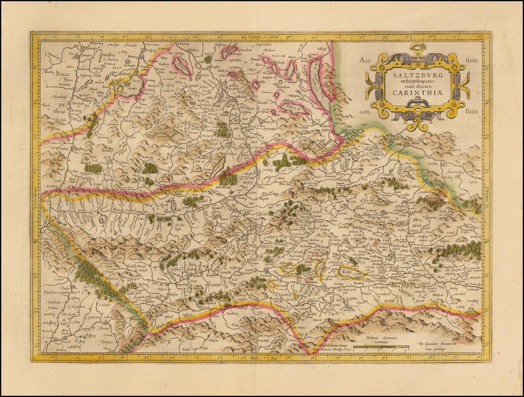 Saltzburg archiepiscopatus cum ducatu Carinthiae By  Gerard Mercator