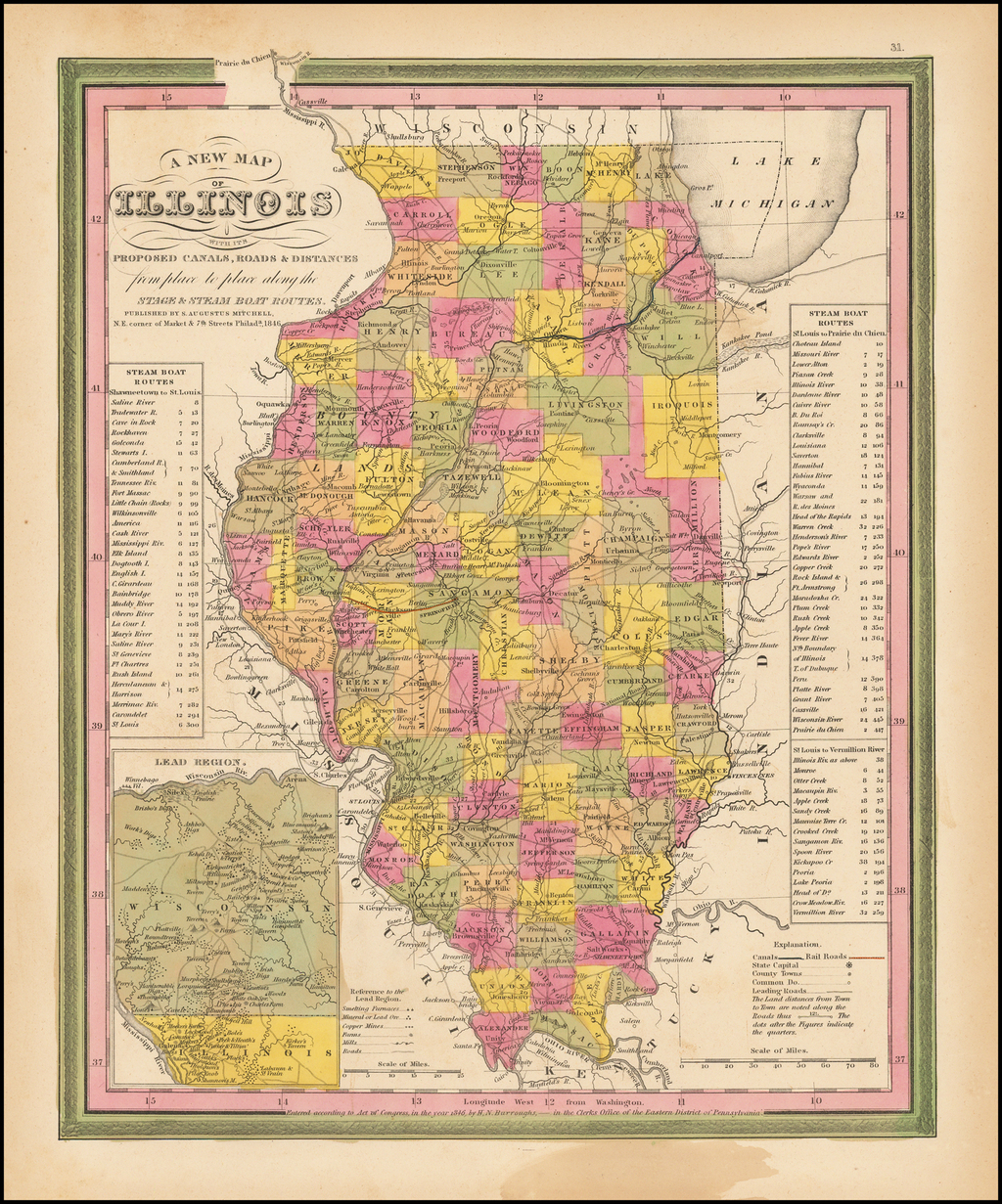 A New Map of Illinois with its Canals, Roads, Distances from Place to Place, along the Stage & Steam Boat Routes By Samuel Augustus Mitchell