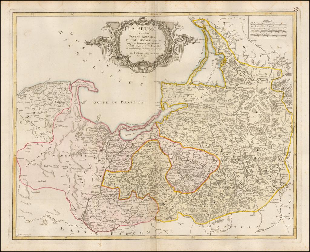 La Prusse divisee en Prusse Royale, et Prusse Ducale laquelle a ete erigee en Royaume par l'Empereur Leopold . . . 1751 By Didier Robert de Vaugondy