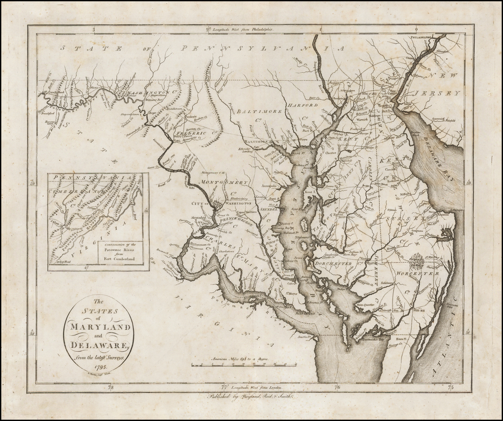 The States of Maryland and Delaware, from the latest Surveys, 1795. By John Reid