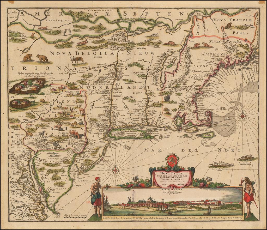 Novi Belgii Novaeque Angliae Nec Non Pennsylvaniae et Partis Virginiae Tabula multis in locis emendata . . .  By Justus Danckerts