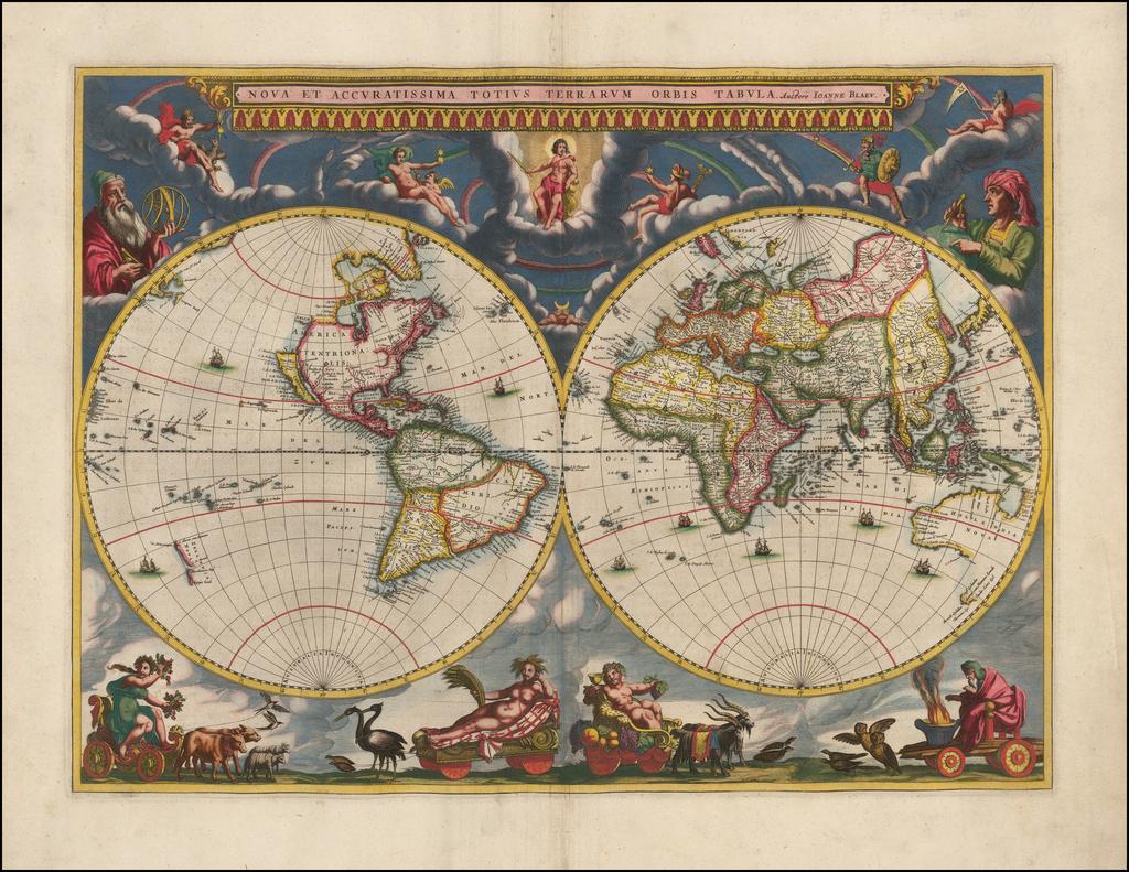 Nova et Accuratissima Totius Terrarum Orbis Tabula Auctore Joanne Blaeu  By Johannes Blaeu