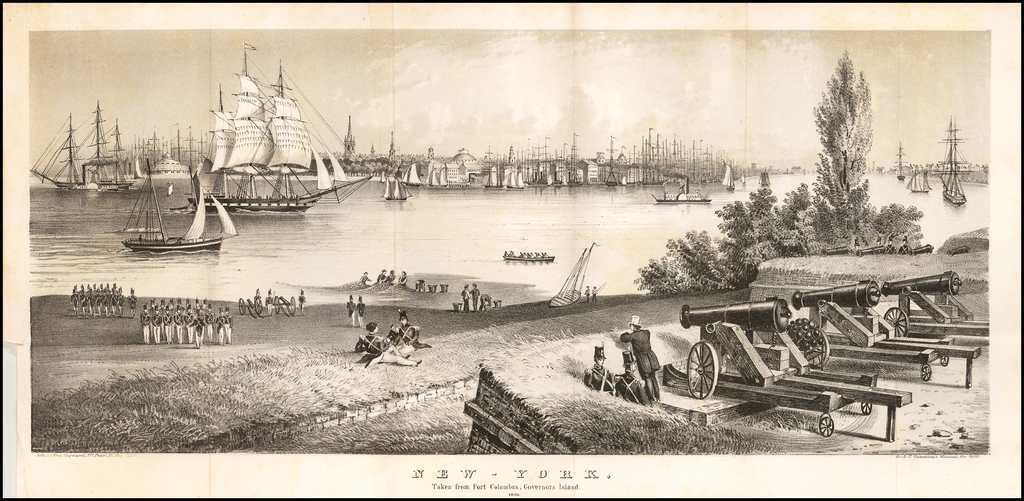 New-York Taken From Fort Columbus, Governor's Island 1816. By Valentine's Manual