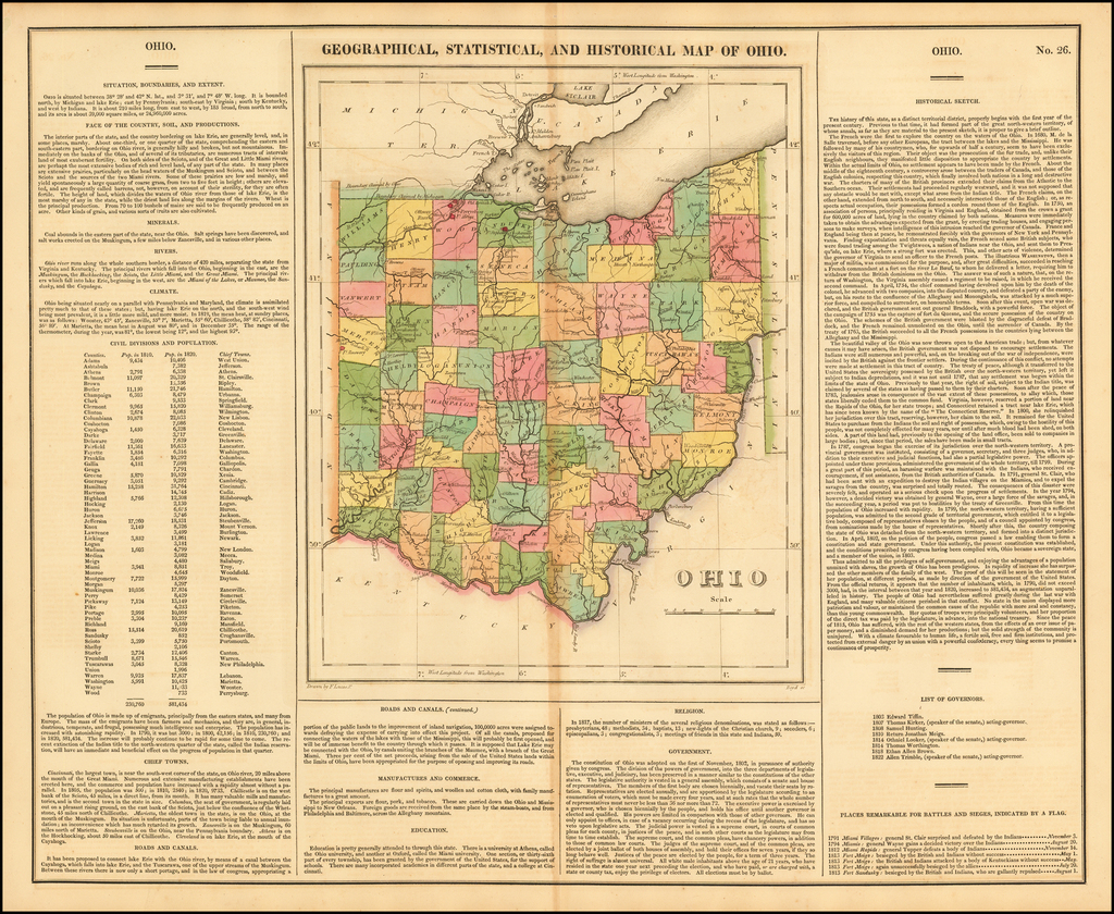 Geographical, Statistical and Historical Map of Ohio By Henry Charles Carey  &  Isaac Lea