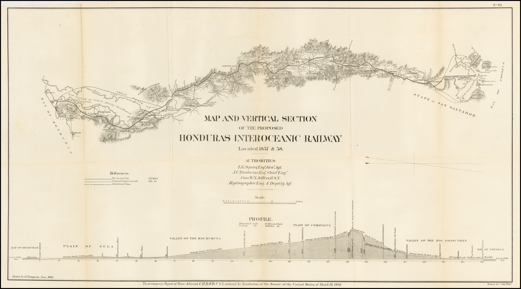 Map and Vertical Section of the Proposed Honduras Interoceanic Railway.  Located 1857 & 58. By Bowen & Co.
