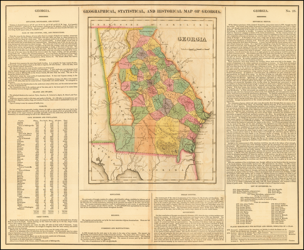 Geographical, Statistical and Historical Map of Georgia By Henry Charles Carey  &  Isaac Lea