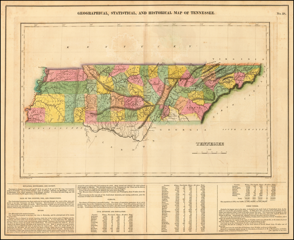 Geographical, Statistical and Historical Map of Tennessee By Henry Charles Carey  &  Isaac Lea
