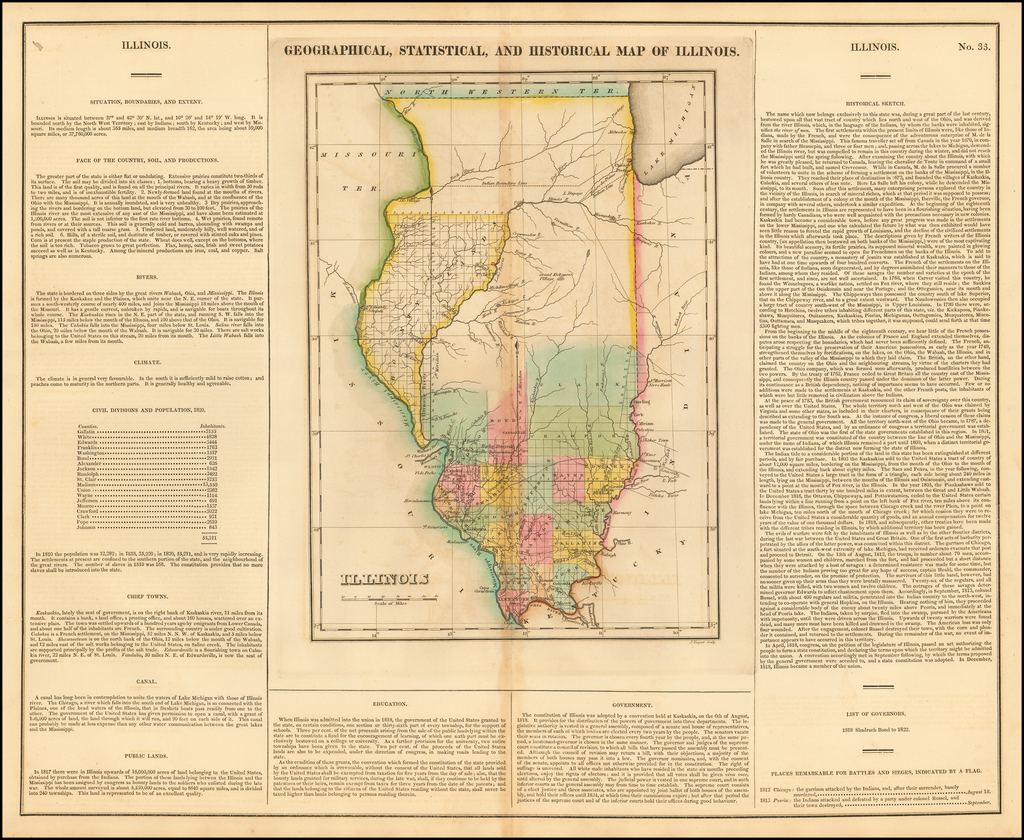 Geographical, Statistical and Historical Map of Illinois By Henry Charles Carey  &  Isaac Lea