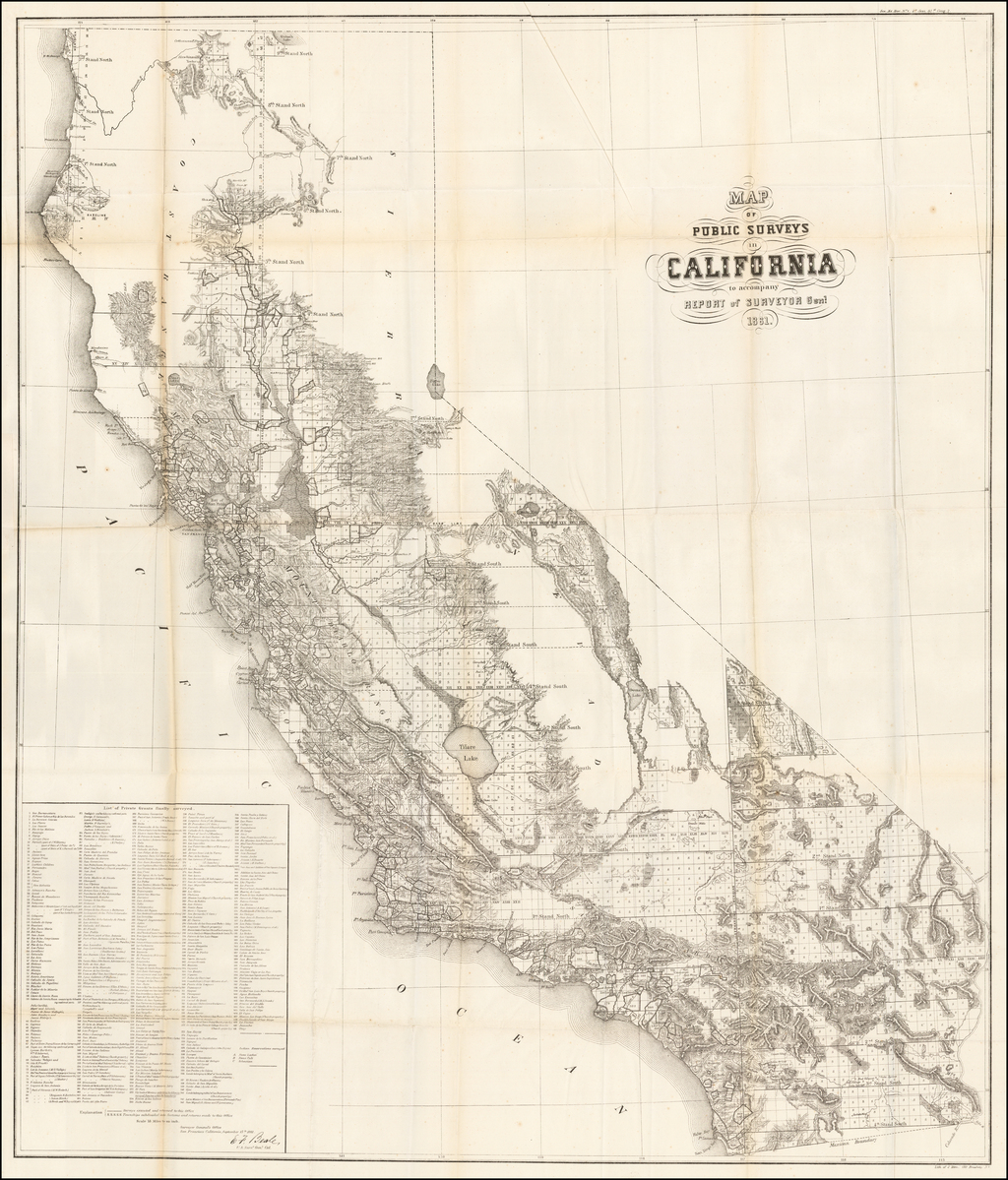 Map of Public Surveys in California to accompany Report of Surveyor Genl.  1861 By General Land Office