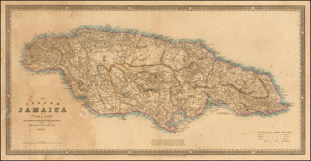 The Island of Jamaica By James Wyld Geographer To The Queen and H.R.H. Prince Albert 1843 By James Wyld