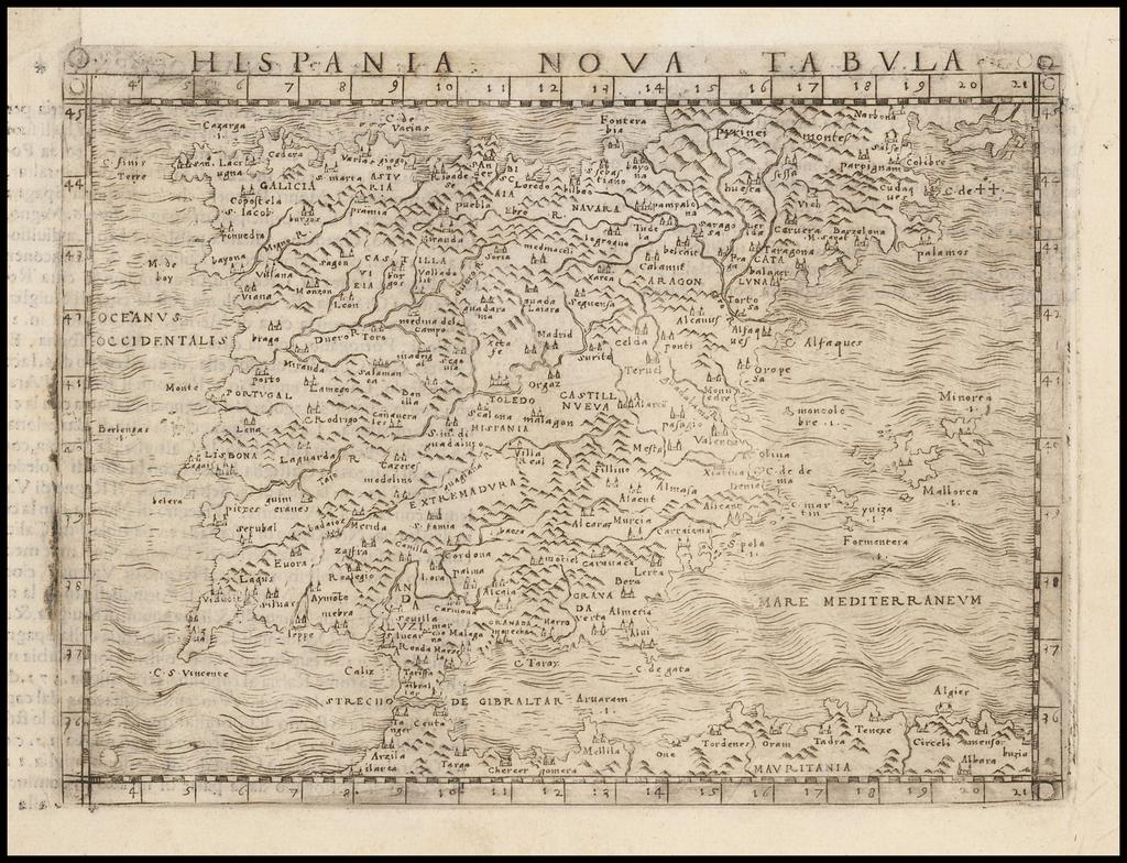 Hispania Nova Tabula By Giacomo Gastaldi