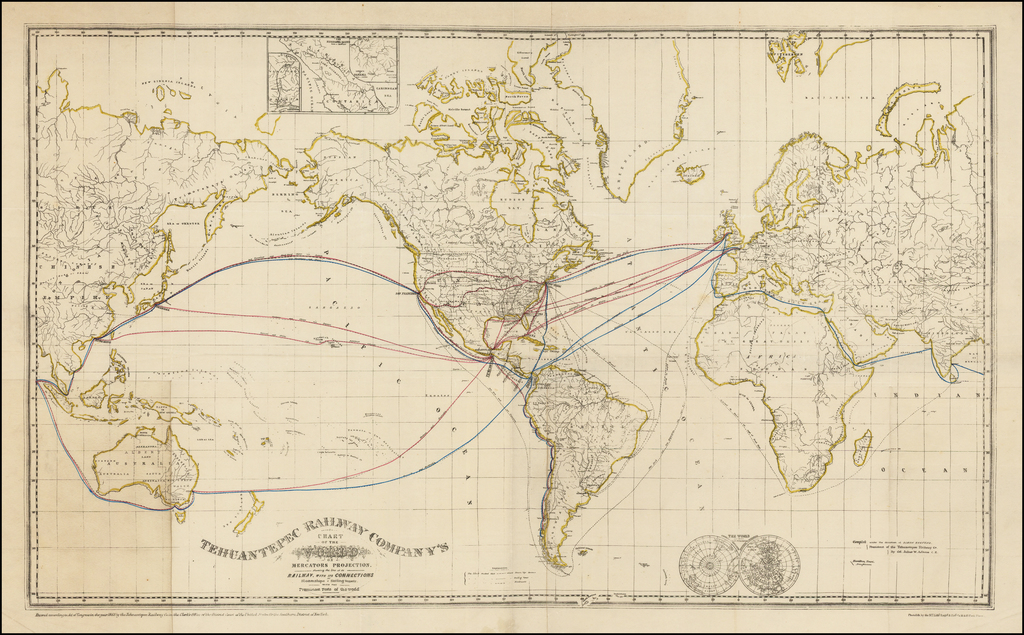 Tehuantepec Railway Company's Chart of the World on Mercators Projection. Showing the lines of its Railway, with its Connections  By Steamships & Sailing Vessels with the Prominent Ports of the world By Tehuantepec Railway Company