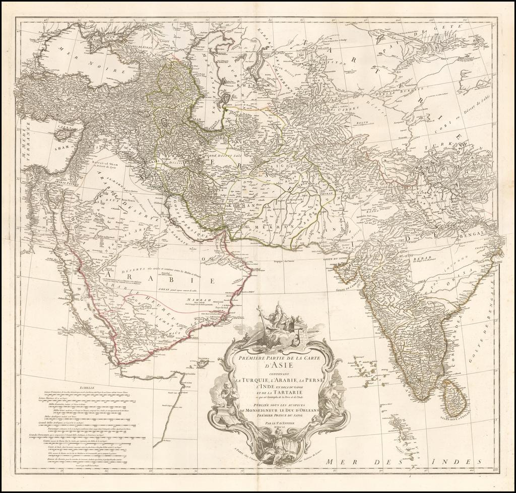 Premiere Partie de la Carte d'Asie Contenant la Turquie, l'Arabie, la Perse, l'Inde en deca du Gange et de la Tartarie ... par le S'r d'Anville MDCCLI By Jean-Baptiste Bourguignon d'Anville