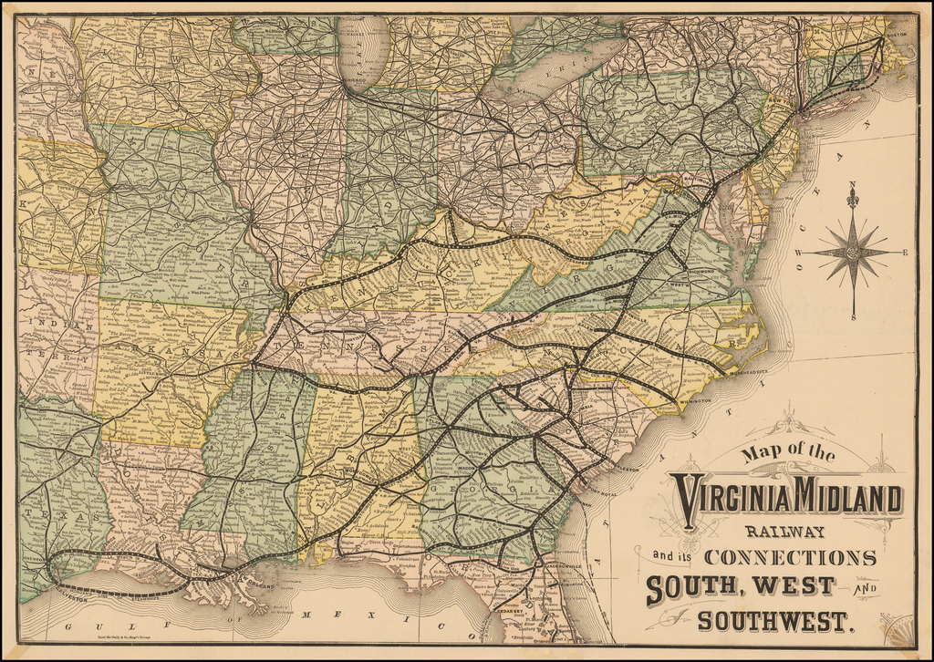 Map of the Virginia Midland Railway and its Connections South, West and Southwest By Rand McNally & Company