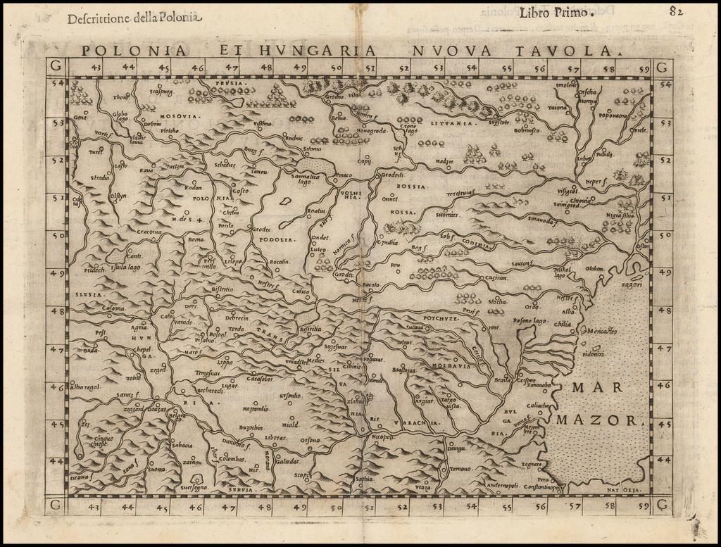 Polonia Et Hungaria Nuova Tavola By Girolamo Ruscelli