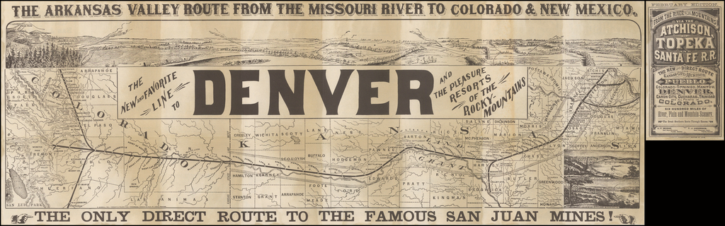 (Colorado) The Arkansas Valley Route From The Missouri River To Colorado & New Mexico By Woodward & Tiernan Printing Company