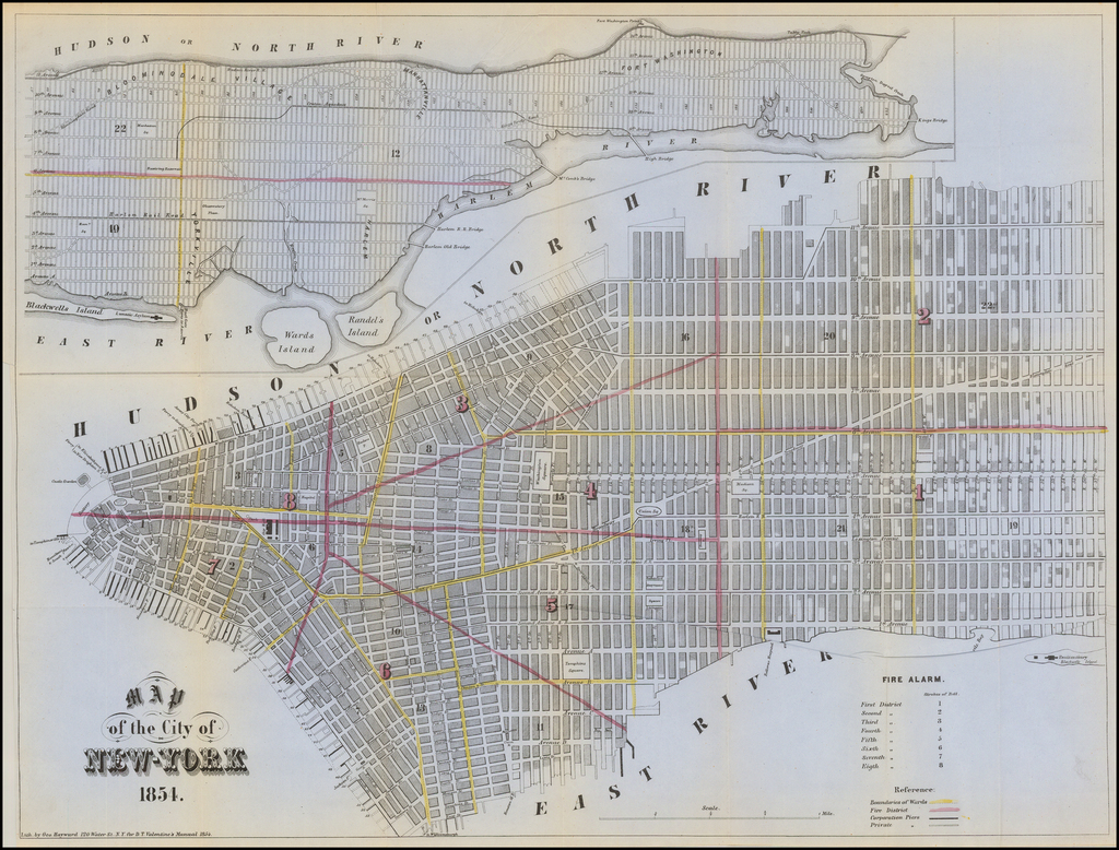 Map of the City of New-York 1854 By Valentine's Manual
