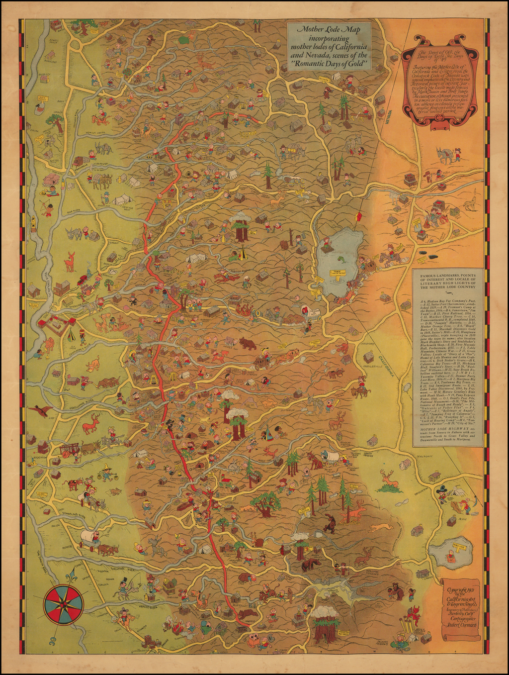 Map Of California Gold Country.Tahoe Gold Country Mother Lode Map Incorporating Mother Lodes Of