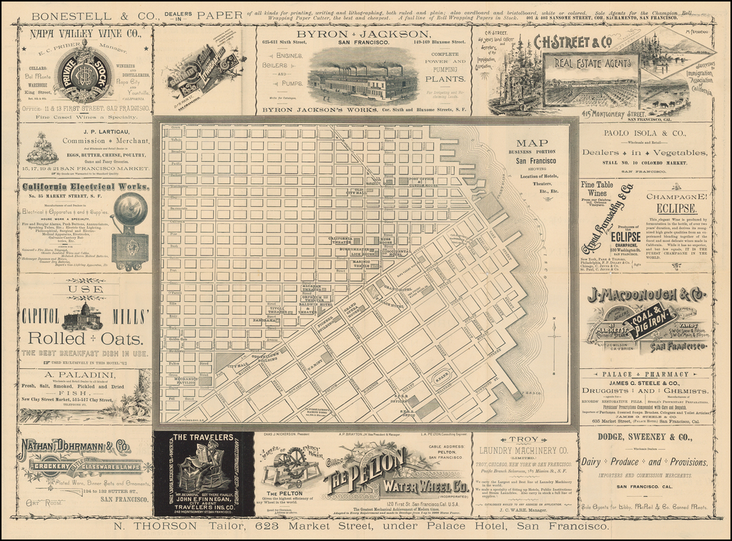 [Illustrated San Francisco Advertising Map]  Map Business Portion San Francisco Showing Location of Hotels, Theaters, Etc. Etc. By G.W. Hughes