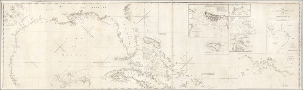 Chart of the Gulf of Mexico, West Indies, and Spaish Main . . . 1845.  Additions to 1846 By E & GW Blunt