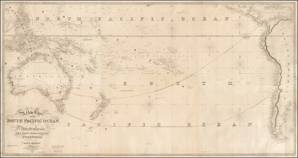 A New Chart of the South Pacific Ocean, Including Australasia, The East India Islands, Polynesia & The Western Part of South America . . . 1849 By James Imray