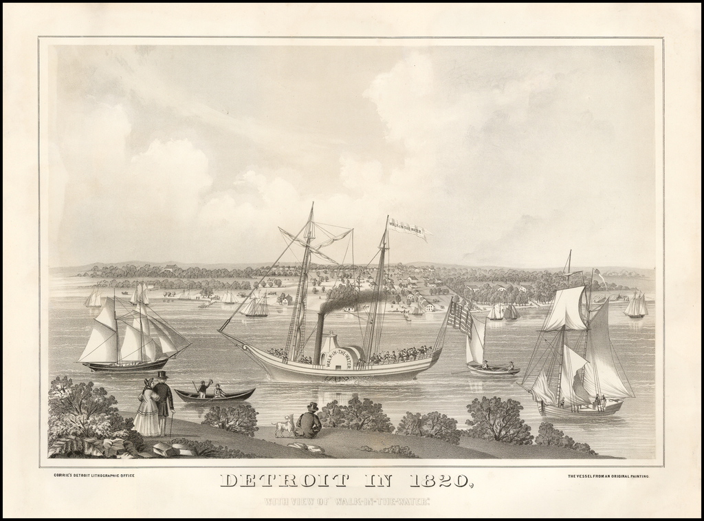 """Detroit in 1820, With View of """"Walk-In-The-Water"""" By Corrie's Detroit Lithographic Office"""