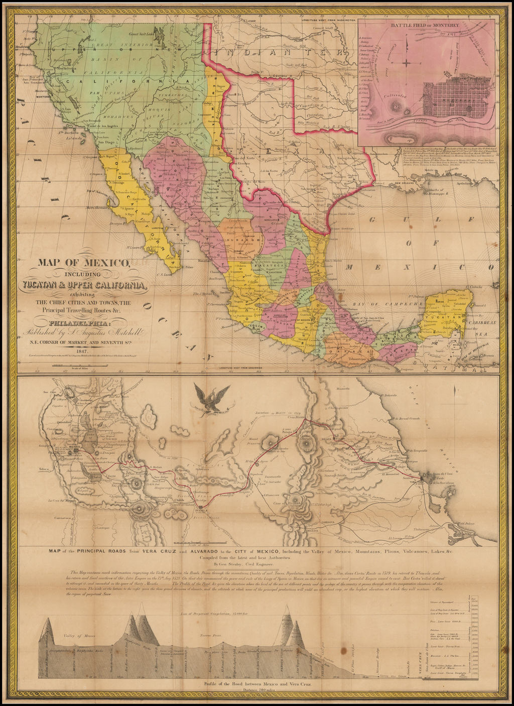 [Early Appearance of Dallas!] . Map of Mexico, Including Yucatan & Upper California, exhibiting The Chief Cities And Towns, The Principal Travelling Routes &c . . . 1847 By Samuel Augustus Mitchell