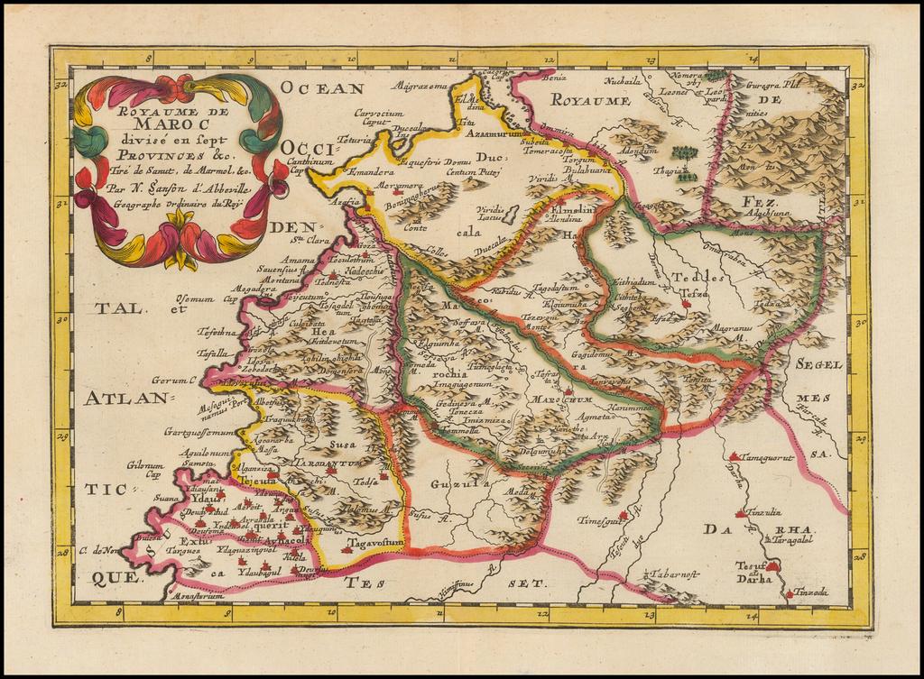 Royaume de Maroc divise en sept Provinces &c.  Tire de Sanut de Marmol &c. By Nicolas Sanson