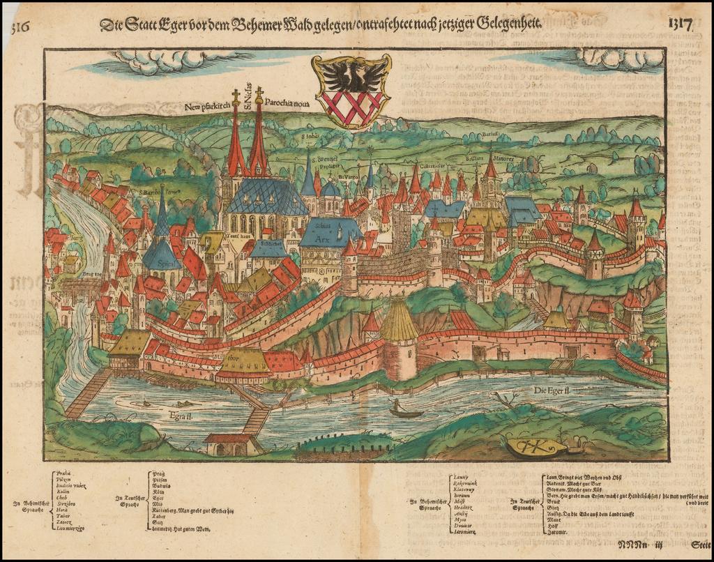 (Cheb) Die Statt Eger vor dem Behemer Wald gelegen/contrasehtet nach jetztiger Gelegenheit By Sebastian Münster
