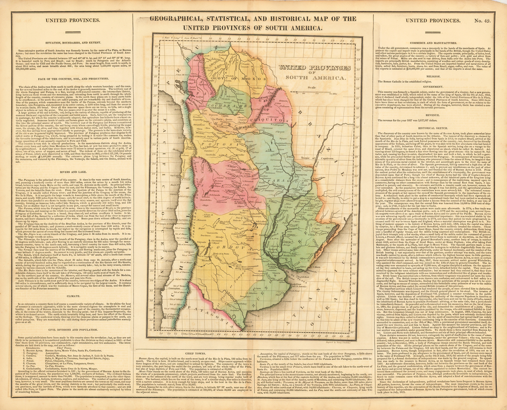 Geographical, Statistical and Historical Map of The United Provinces of South America By Henry Charles Carey  &  Isaac Lea