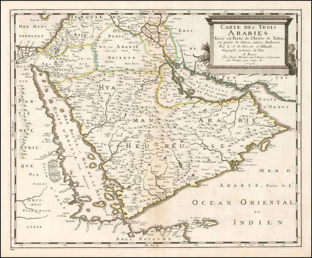 Carte Des Trois Arabies Tiree en Partie de l'Arabe de Nubie, en partie de divers autres Autheurs . . . 1654 By Nicolas Sanson