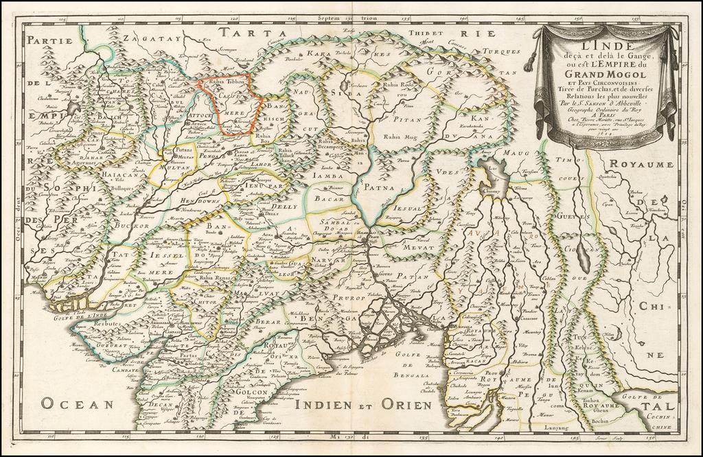 L'Inde deca et dela le Gange, ou est L'Empire du Grand Mogol Et Pays Circonvoisins Tiree de Purchas . . . 1654 By Nicolas Sanson
