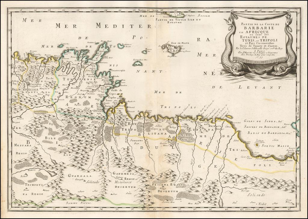 Partie de la Coste de Barbarie en Africque ou sont les Royaumes de Tunis, et Tripoli. . . 1655 By Nicolas Sanson