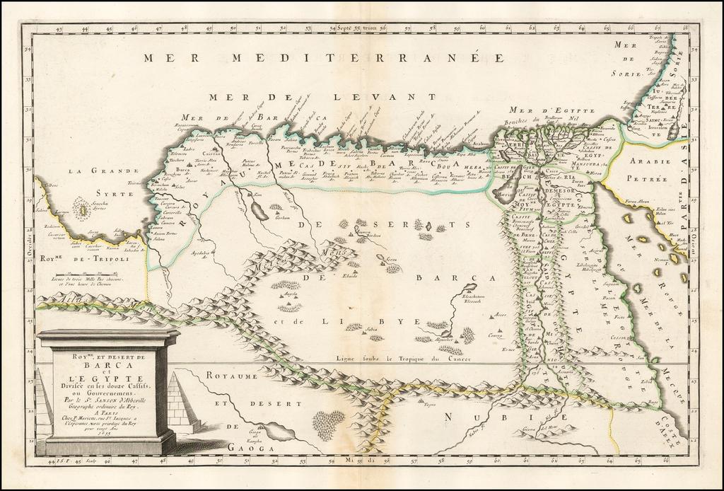 Royme. et Desert de Barca et L'Egypte Divisee en ses douze Cassiss. . . 1655 By Nicolas Sanson