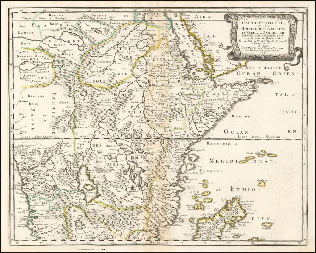 Haute Ethiopie ou sont L'Empire Des Abissins, La Nubie, et le Zanguebar . . . 1655 By Nicolas Sanson