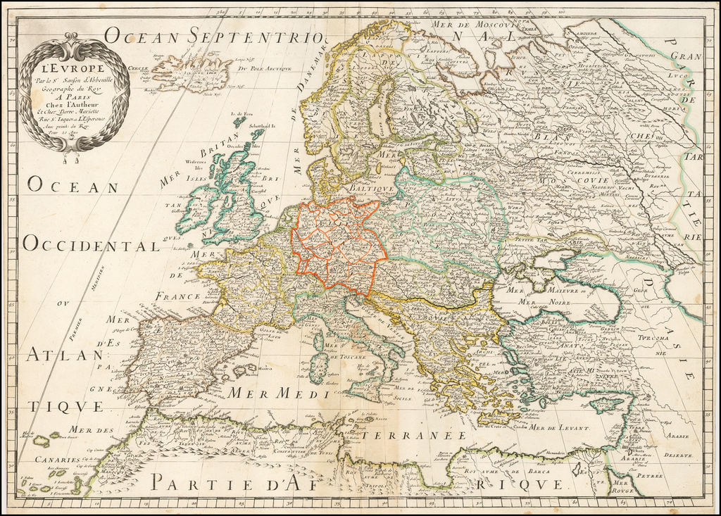 L'Europe Par le Sr Sanson d'Abbeville. . . - Barry Lawrence Ruderman on canada map, florida map, europe map, caribbean map, nevada map, mexico map, africa map, 13 colonies map, tennessee map, us state map, the us map, texas map, full size us map, the world map, great lakes map, arkansas map, missouri map, east coast map, blank map, mississippi map,