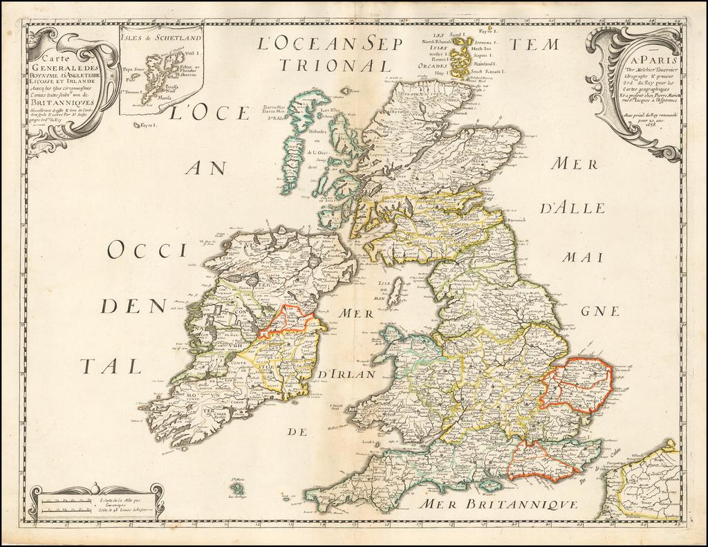 Carte Generale des Royaume D'Angleterre Escosse et Irlande Avecq les Isles circonnuisines Conues toutes Soubs le nom Britaniques . . . 1658 By Nicolas Sanson