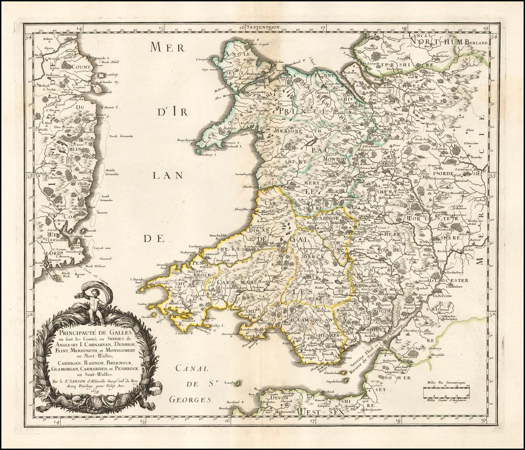 Principauté de Galles ou sont les Comtés, ou Shiries de Anglesey, I. Carnarvan, Denbigh, Flint, Merioneth, et Montgomery en Nort-Walles, Cardigan, Radnor, Breknock, Glamorgan, Carmarden, et Penbrock en Sout-Walles... 1658 By Nicolas Sanson