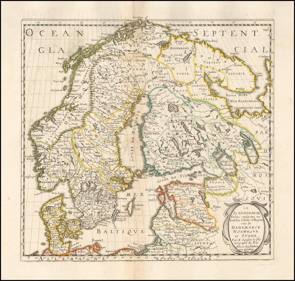La Scandinavie et les environs ou sont les estats et royaumes de Danemarck, Norwegue et Svede... 1647 By Nicolas Sanson