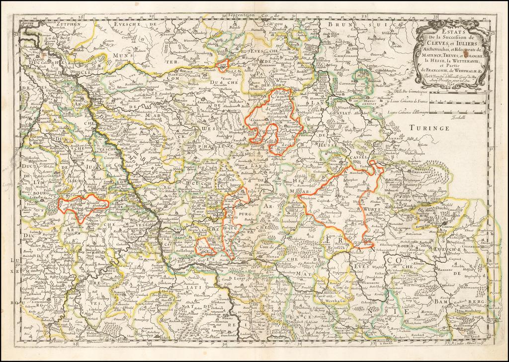 Estats de la succession de Cleves et Iuliers, archeveschés et eslectorats de Mayence, Treves et Cologne, la Hesse, la Wetteravie et partie de Franconie, de Westphalie... 1648. By Nicolas Sanson