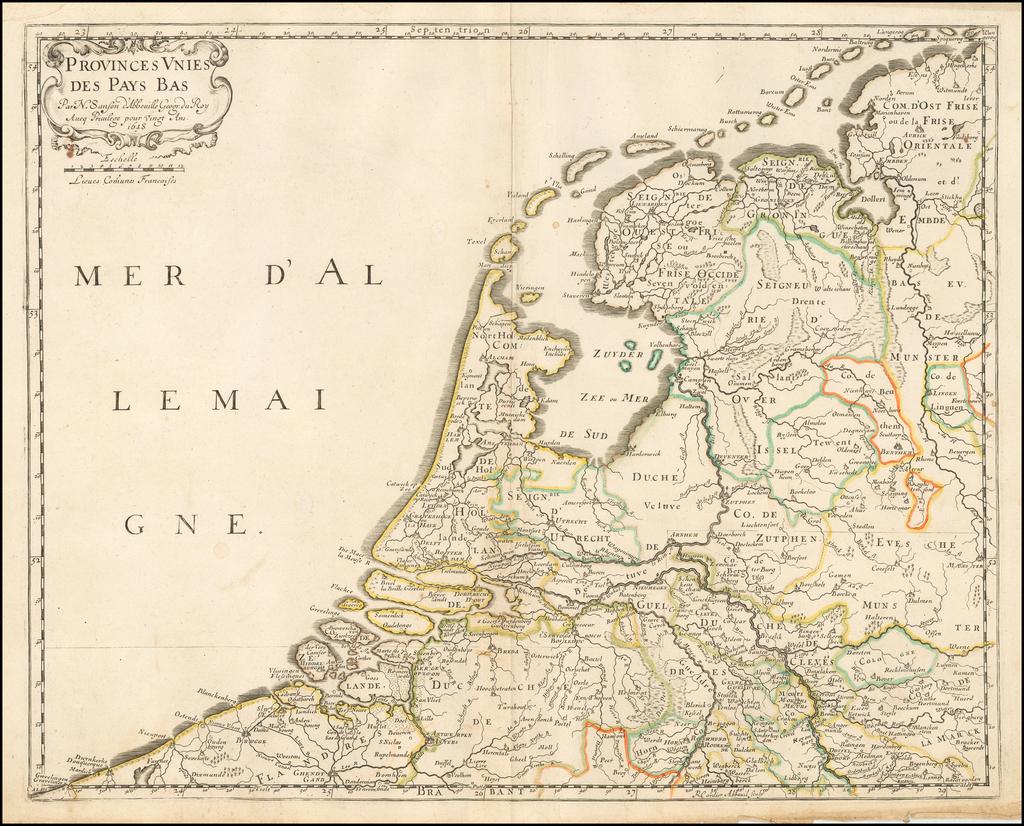 Provinces unies des Pays Bas. Par N. Sanson d'Abbeville... 1648 By Nicolas Sanson
