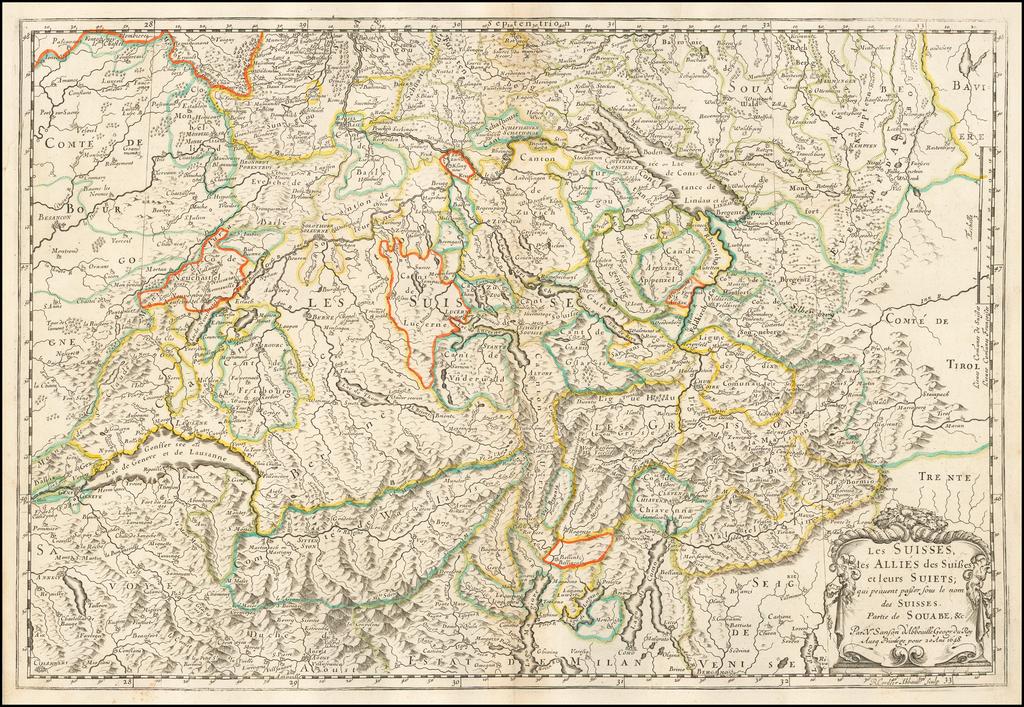 Les suisses, les alliés des suisses et leurs sujets... 1648 By Nicolas Sanson