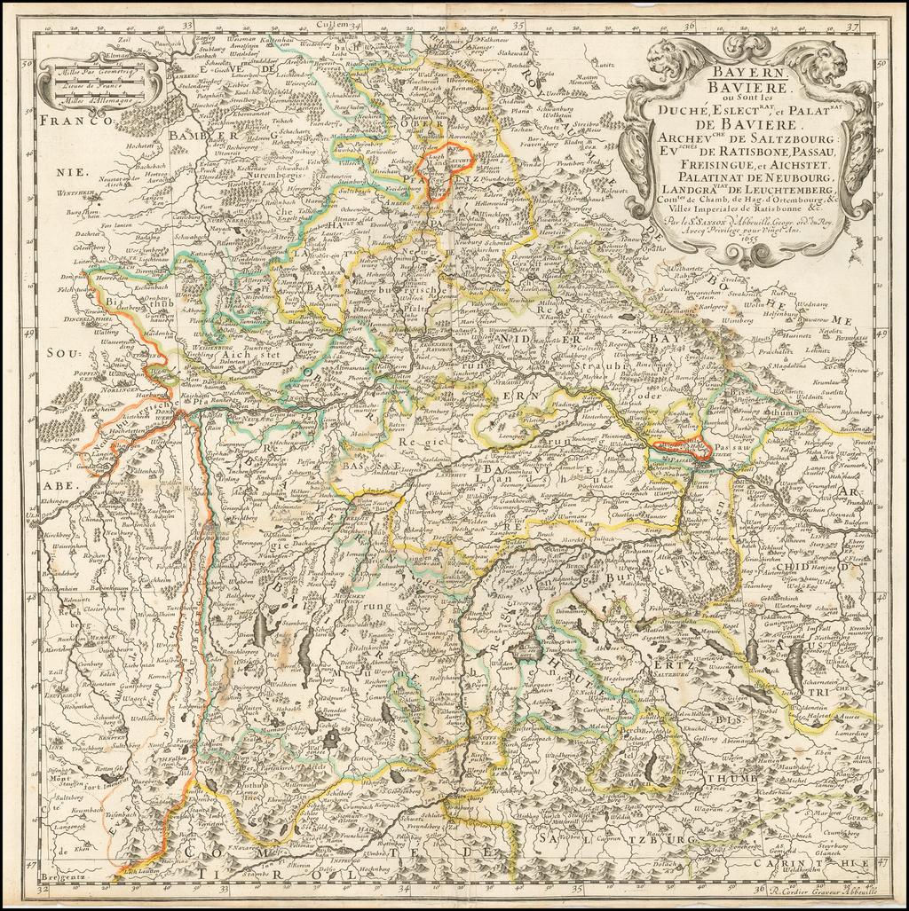 Bavaria, Baviere ou Sont les Duché, Eslectrat, et Palatnat de Baviere... 1655 By Nicolas Sanson