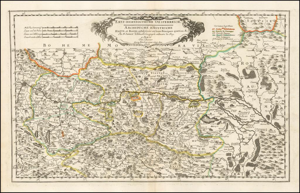 Ertz-Hertzogthumb Oesterrich -- Archiduche D'Anstriche Haute, et Basse... 1657 By Nicolas Sanson
