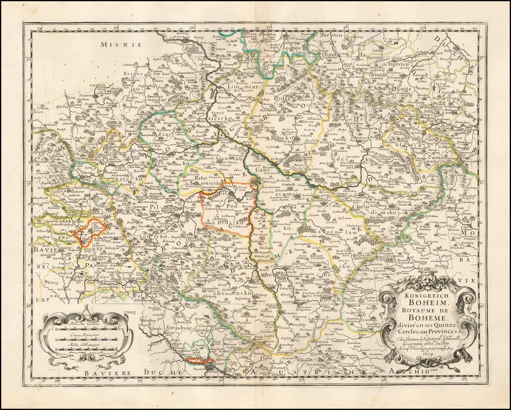Konigreich Boheim. Royaume de Boheme. By Nicolas Sanson
