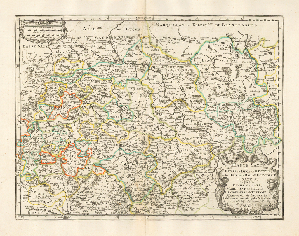 Haute Saxe ou estats du duc et eslecteur et des ducs de la maison eslectorale de Saxe & c. ou sont les duché de Saxe, marquisat de Misnie, landgraviat de Turinge, marquisat de Lusace & c. subdivisés en leurs principales parties, estats & c... 1655 By Nicolas Sanson