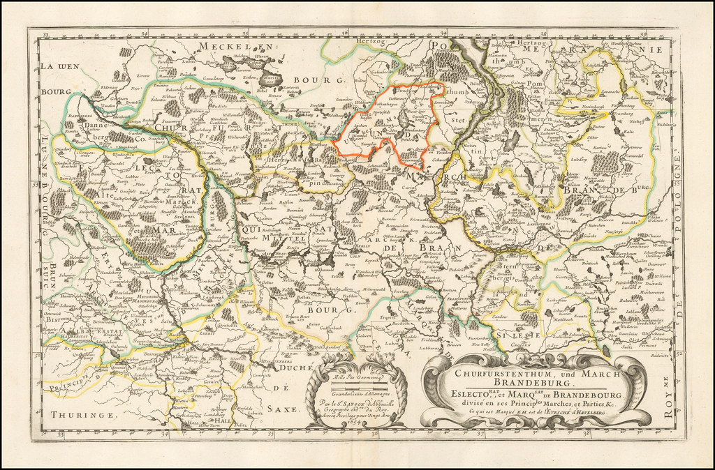 Churfurstenthum, und March Brandeburg. Eslectorat et marqsat de Brandebourg divisé en ses principles marches et parties & c... 1654 By Nicolas Sanson