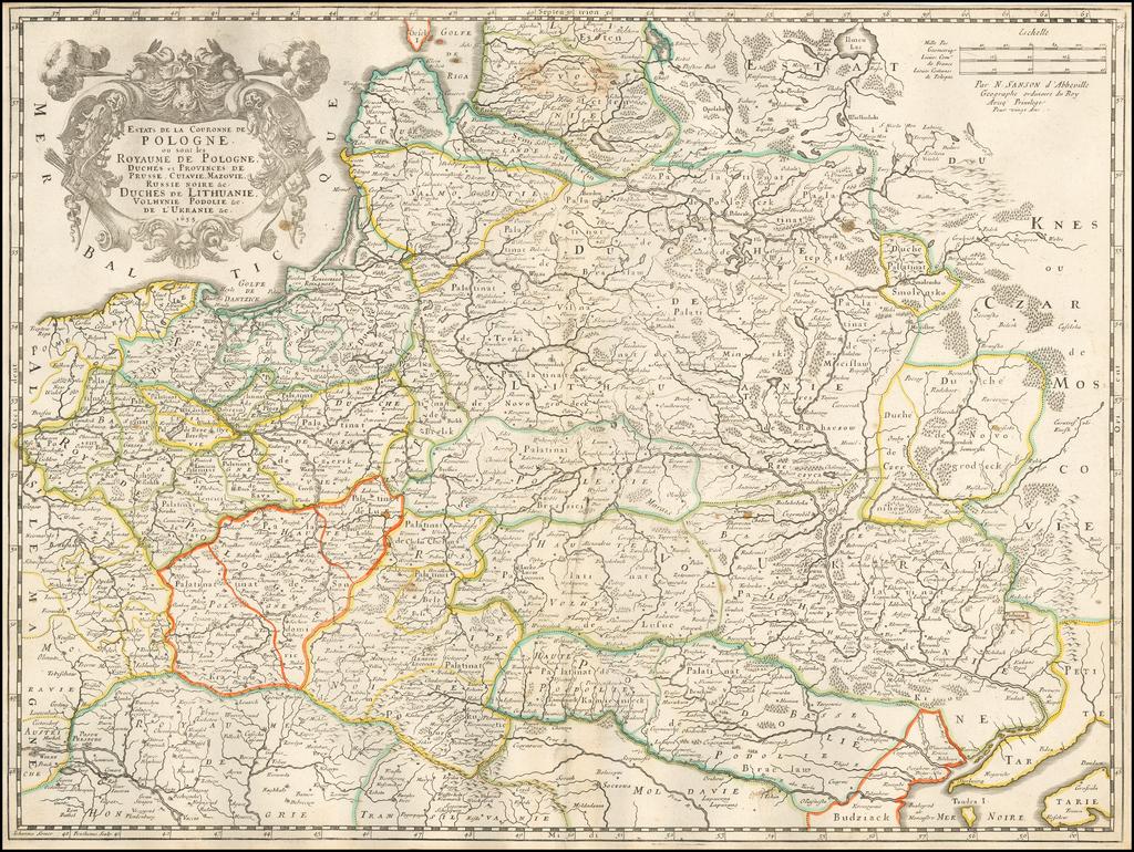 Estats de la Couronne de Pologne ou sont les Royaume de Pologne, Duchés et Provinces de Russia Cuiasie, Mazonie, Russia Noire, etc. Duchés de Lithuanie, Volhynie Podelie etc,.. . de l'Ukranie etc... 1655 By Nicolas Sanson