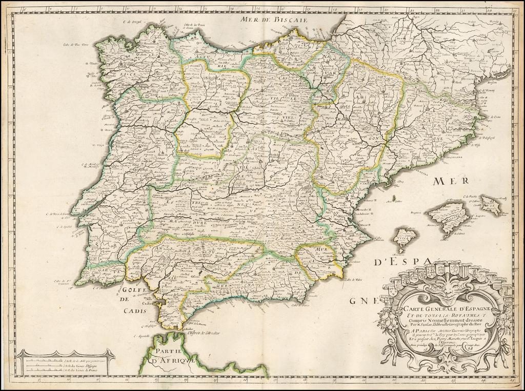 Carte générale d'Espagne et de tous les Royaumes y compris nouvellement... 1658 By Nicolas Sanson
